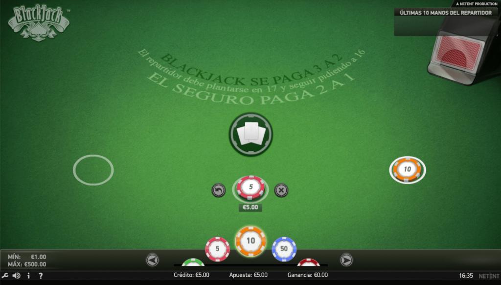 tablero de blackjack online en yocasino