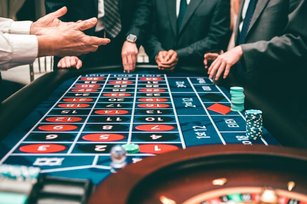 Gambar meja roulette kasino.