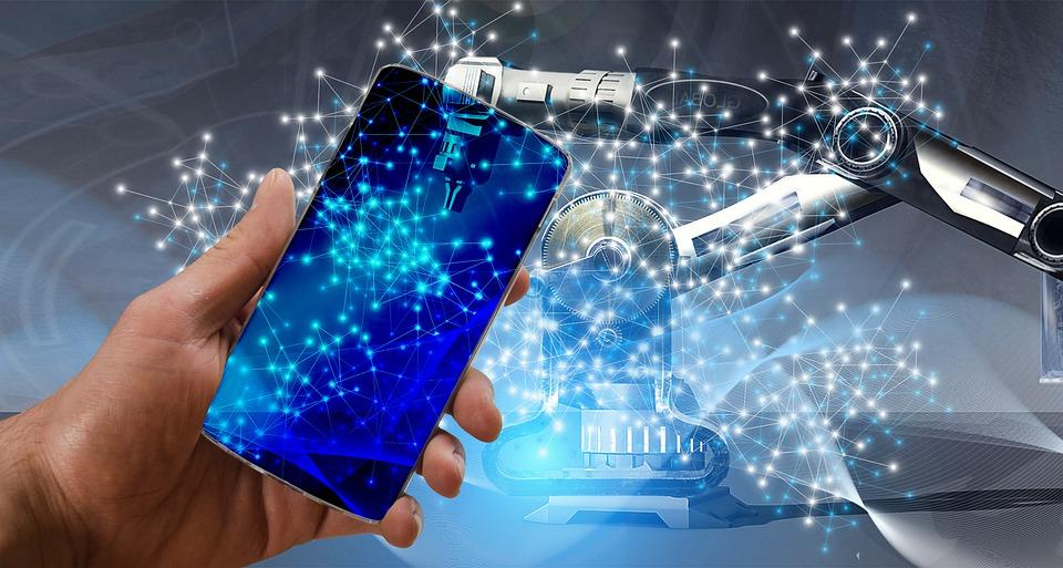 Ponsel yang terhubung ke sistem kecerdasan buatan.